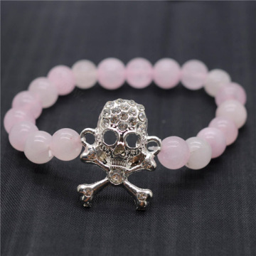Rose Quartz 8MM Round Beads Stretch Gemstone Bracelet with Diamante Skull Piece
