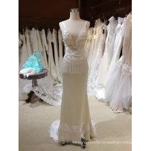 Beach Straps V Neck Sheath Champagne Wedding Dress