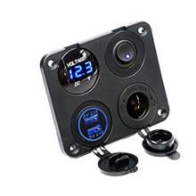 Cargador dual USB + voltímetro digital + toma de corriente de 12V + interruptor de encendido / apagado Interruptor de botón de 4 agujeros para vehículo de carga marina Camión marino de vehículos de motocicleta RV ATV GPS Mobi
