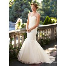 NA1021 Elegant Scoop Court Train Appliqued Vestido de noiva de organza de renda