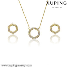 63840 xuping fashion round design charm zircon 14k gold color jewelry set