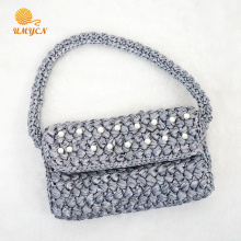 Crochet Handmade Grey Pearl Clutch Sac à main