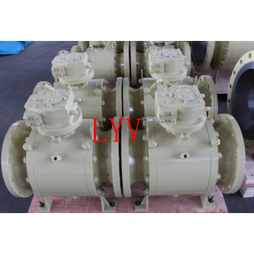 Worm Gearbox Flanged Trunion Stainless Steel Ball Valve