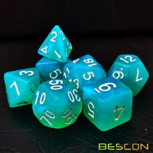 Bescon Moonstone Dice Set Turquoise, Bescon Polyhedral RPG Dice Set Efecto Moonstone