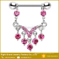 316L Chirurgenstahl Rosa Multi Kristall Jewelled Dangle Nipple Ring Piercing