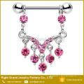 316L Хирургическая сталь розовый Мульти Кристалл драгоценного мотаться сосков кольца Пирсинг