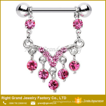 316L Surgical Steel Pink Multi Crystal Jewelled Dangle Nipple Ring Piercing