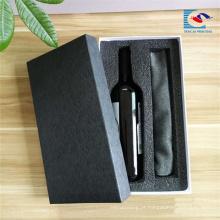 Atacado Luxo preto papel especial caixa de papelão de vinho com melhor preço