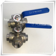 Stainless Steel 3 Way Ball Valve, L Port, T Port Three Way Ball Valve Handle
