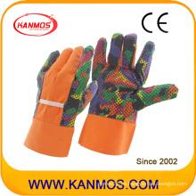 Guantes de trabajo de jardín de algodón de seguridad industrial impreso (41005)