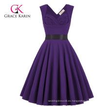 Venta al por mayor Grace Karin sin mangas de amor V-Back High Stretchy púrpura Vintage RetroParty vestido CL008948-6