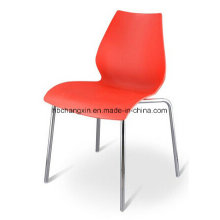 Пластиковый стул с хромированной ноги