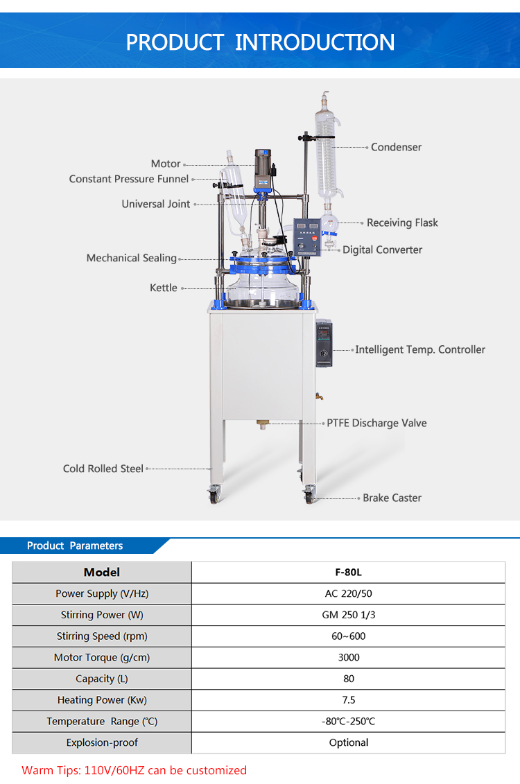 80L Single Layer Distillation Glass Reactor