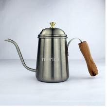 Madeira punho aço inoxidável longo Lip Coffee Pot