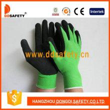 Зеленый нейлон с черный Латекс перчатки-Dnl754
