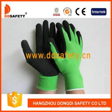Nylon verde con guantes de látex negro-Dnl754