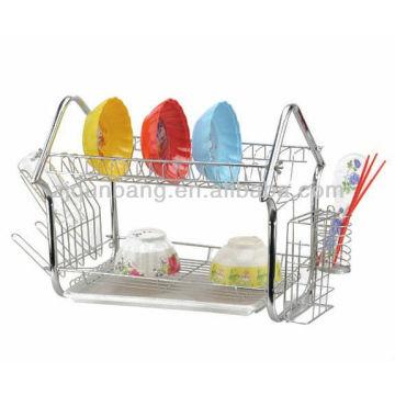 Rack de panela elegante e durável, rack de cozinha em aço inoxidável, vasilha de drenagem, rack de dupla prateleira, vasilha de drenagem, armazenamento de talheres r