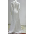 White sequin beaded halter neck mermaid wedding dress