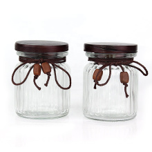 300ml 10oz Vertical stripes round airtight Glass Food Storage canister Containers with wooden cap