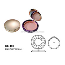 Plastic round shape gold color empty makeup compact
