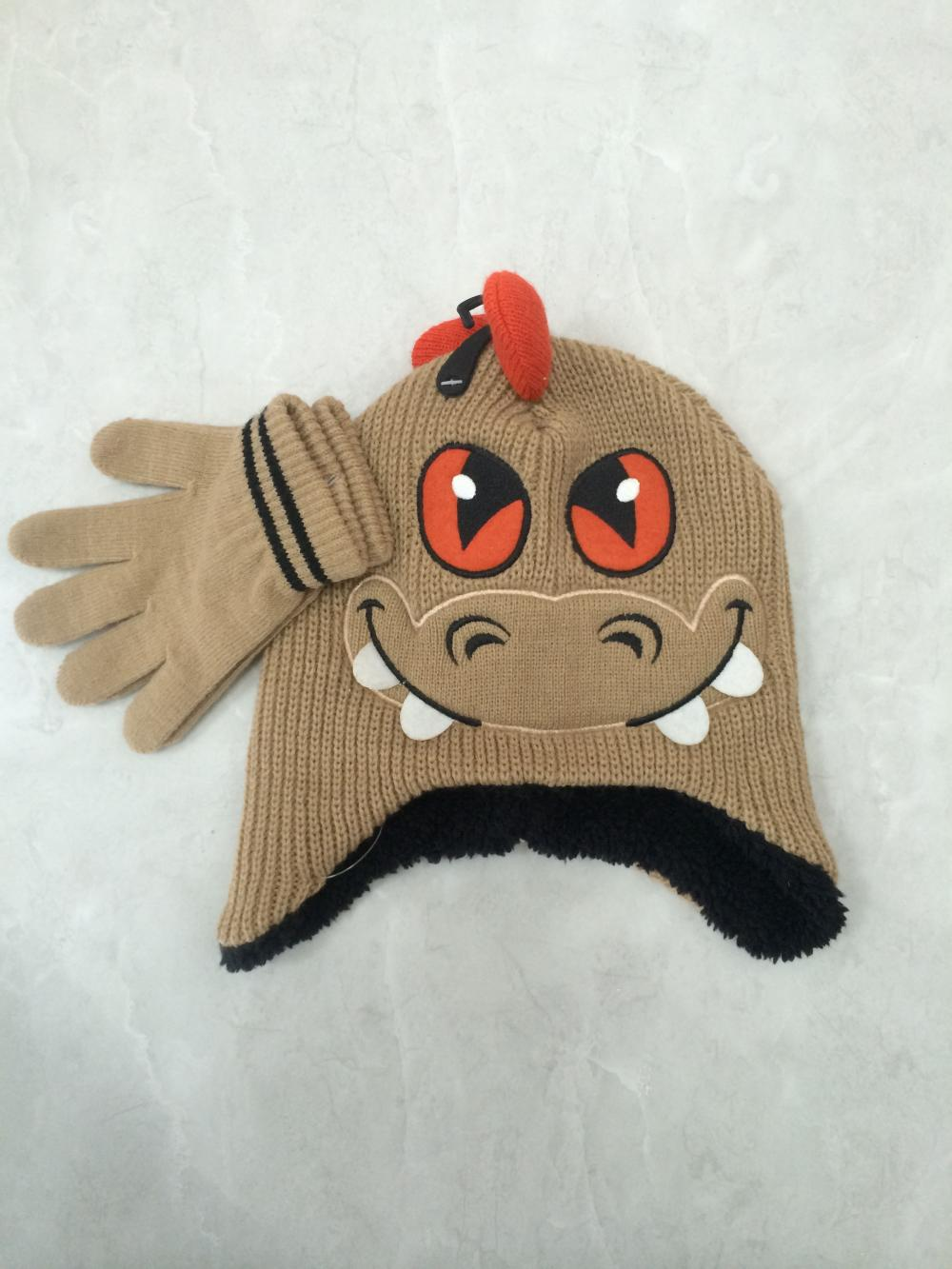 Animal Children Winter Knitting Hat Guantes
