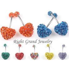 Shamballa en forme de coeur cristal Ferido Belly nombril anneaux