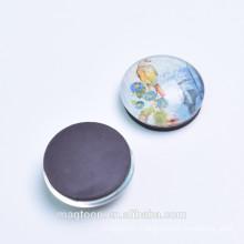 custom cute bird printed transparent dome glass fridge magnets for home decor