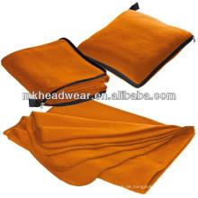 Großhandel orange Farbe Fleece Decke Kissen mit Reißverschluss
