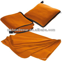 Vente en gros Orange Color Fleece Blanket Pillow With Zipper