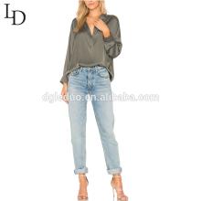 Los últimos diseños de la blusa casual de las mujeres del desgaste de la oficina diseñan la blusa de la señora del tamaño