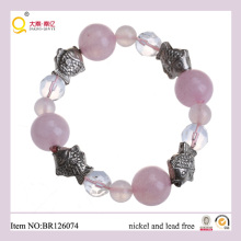 Funny Charm Fish Shape Rose Quartz Moonstone Bracelet, Charm Bracelet as Gift for Mother