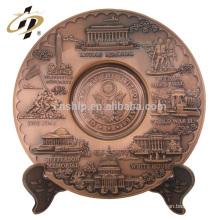 Personalizado 3d antigo gravado lembrança de cobre placa de metal esporte