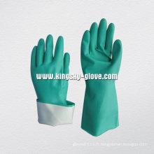 Gant de travail chimique en nitrile doublé de flocage à manches longues non supporté -5620