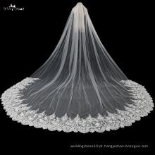 TA038 5 metros Comprimento do chão 3D Flores véu de noiva