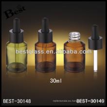 Botella de aceite esencial de vidrio ámbar 30ml con goma, botella de aceite de cuentagotas de vidrio con goma negra; botella cuentagotas con tapa de aluminio