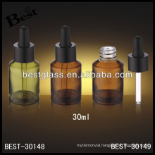 30ml amber glass essential oil bottle with rubber, glass dropper oil bottle with black rubber; dropper bottle with aluminum cap