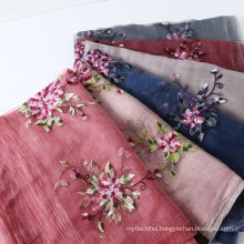 Elegant ladies neckerchief embroidered flowers silk wool scarf shawl
