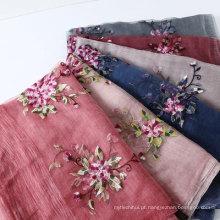 Senhoras elegantes lenço de pescoço bordado flores de seda cachecol de lã xaile