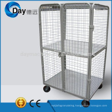 HM-8C stainless steel laundry basket wheels with 2 doors, with lid, with clapboard, bear 500kgs