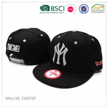 3D NY Embroidery Black Flat Bill Cap
