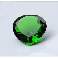 Diamant en verre de cristal vert de haute qualité pour l'artisanat