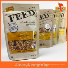 Plastic / Paper Stand Up Ziplock Laminted Seal Packaging Pouch With Clear Window For Granola