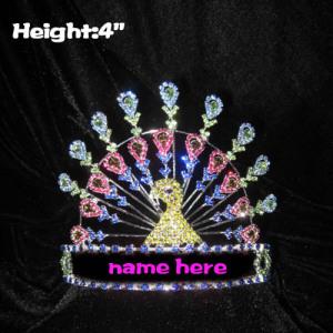 Coroas coloridas do concurso de pavão de cristal de altura de 4 polegadas