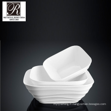 Hotel ocean line fashion elegance assiette carrée en porcelaine blanche PT-T0610