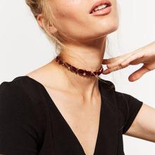 Layered Chain Velvet Choker Golden Stars Necklaces For Bride