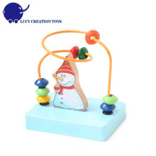 Bebê educacional de madeira feliz neve homem mini labirinto grânulo