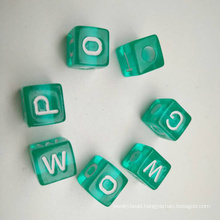 10*10 transparent cube in blue color English alphabet beads