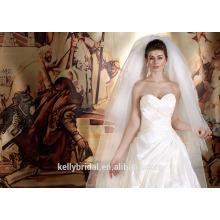 ZM16018 Vintage Style Brautkleider gefaltet und drapiert Taft Kleid mit zeitgenössischen Kristall Perlen Reich Linie