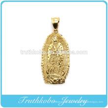 2016 de Alta qualidade da moda cristã chapeamento a vácuo de aço inoxidável ouro pingente religioso santa mãe Maria colar de pingente