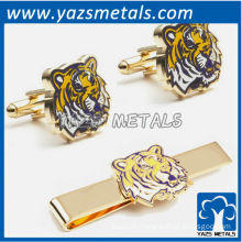 LSU tigers tie bars and cufflinks, custom made metal tie clip with design